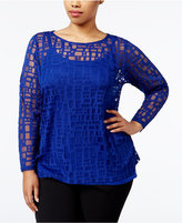 INC International Concepts Plus Size Illusion Top, Only at Macy's