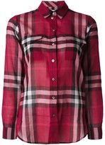 Burberry checked longsleeved shirt - women - Cotton - L
