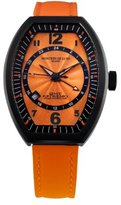 Montres de Luxe Women's EXL 9202 Estremo Lady Black PVD Orange Sunray Dial Leather Luminous Date Watch