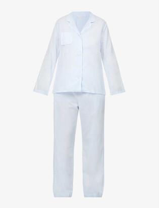 Derek Rose Amalfi long-sleeved cotton pyjama set