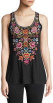 Johnny Was Anaya Embroidered-Front Tank