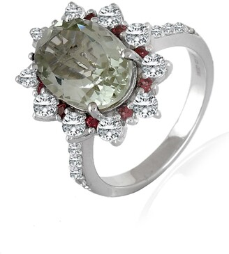 Forever Creations Usa Inc. Sterling Silver Green Amethyst & White Topaz Ring