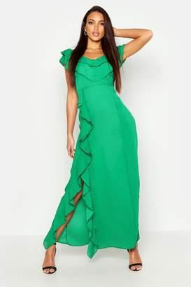 boohoo Ruffle Detail Maxi Dress
