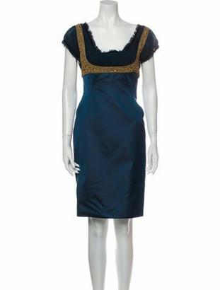Alexander McQueen Silk Knee-Length Dress Green