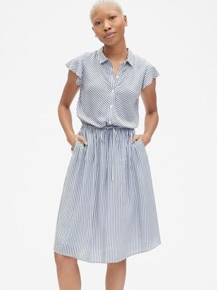 Gap Perfect Flutter Sleeve Midi Shirtdress