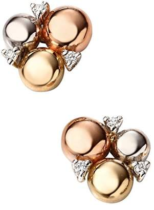 Elements Gold 9ct Three Colour Gold Circles Stud Earrings with Diamonds