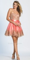 Dave and Johnny Embellished Embroidered Strapless Sweetheart Cocktail Dress