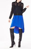 BCBGMAXAZRIA Nicolle Zip-Front Scroll Lace Top