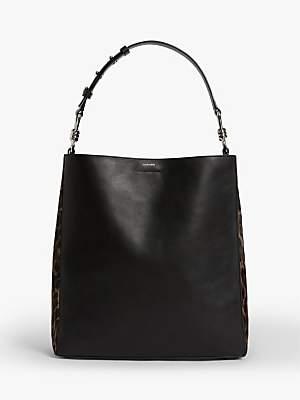 AllSaints Kim North South Leather Leopard Print Tote Bag, Black