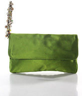 J.Crew J Crew Lime Green Satin Gold Tone Beaded Chain Link Wrist Strap Clutch