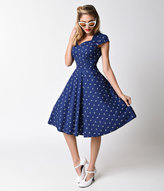 Unique Vintage 1950s Style Navy & White Anchor Cap Sleeve Sweetheart Swing Dress
