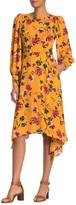 Donna Morgan Floral Blouson Sleeve Asymmetrical Dress