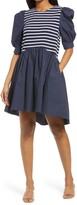 Thumbnail for your product : ENGLISH FACTORY Mixed Media Puff Sleeve Dress