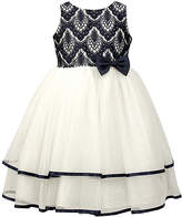 Jayne Copeland Off-White & Navy Ornate Lace-Accent Dress - Toddler & Girls