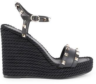 Valentino Rockstud Leather Espadrille Wedges