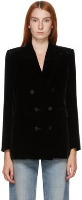 Saint Laurent Black Velvet Double-Breasted Blazer