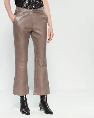 Religion Raw Grey Faux Leather Pants