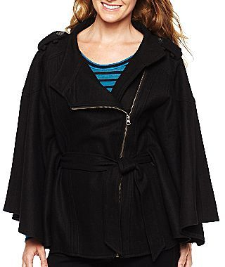 JCPenney Belted Zip Cape Coat