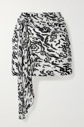 Self-Portrait Draped Leopard-print Plisse-chiffon Mini Skirt - White