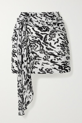 Self-Portrait Self Portrait Draped Leopard-print Plisse-chiffon Mini Skirt - White