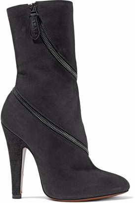 Alaia Zip-detailed Suede Ankle Boots