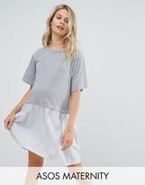 Asos T-Shirt Smock Dress With Woven Frill Hem