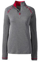 Lands' End Women's Long Sleeve Active Half Zip Pullover-Pewter Heather