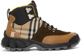 Burberry Beige and Brown Tor Boots