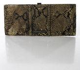 Kenneth Cole Reaction Brown Black Leather Gold Sheer 3 Pocket Clutch Medium