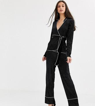 Fashion Union Tall velvet pants coord in allover rhinestone-Black