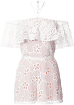 Alexis floral embroidery playsuit - women - Polyester/Spandex/Elastane - S