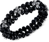 2028 Silver-Tone Black and Crystal Beaded Stretch Bracelet