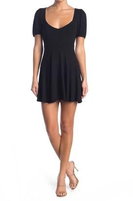 Velvet Torch Puff Sleeve Back Cutout Mini Dress