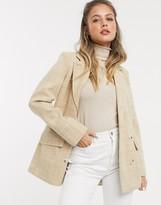 Miss Selfridge tailiored coat in camel check