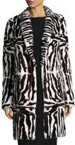 Valentino Intarsia Mink Fur Coat, Brown/White