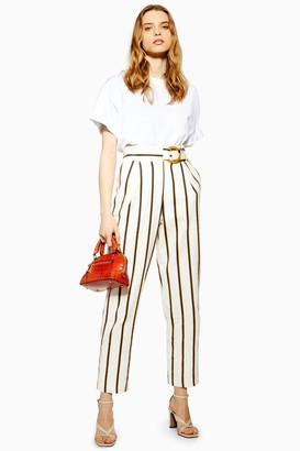 Topshop Womens Blue Stripe Peg Trousers - Blue