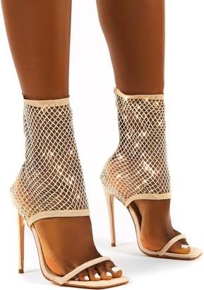 Public Desire Uk Double Take Fishnet Ankle Stiletto High Heels