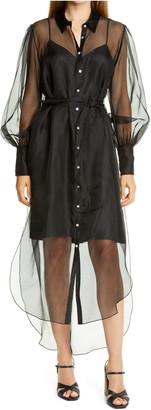 Cinq à Sept Elian Long Sleeve High/Low Silk Organza Shirtdress