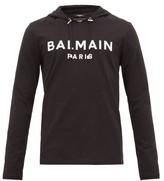 Balmain - Logo Applique Cotton Hooded Long Sleeved T Shirt - Mens - Black
