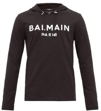 Balmain Logo-applique Cotton Hooded Long-sleeved T-shirt - Mens - Black