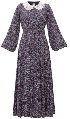 Gül Hürgel Lace-collar Polka-dot Maxi Dress - Blue Print