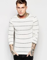 Asos Linen Mix Muscle Stripe Long Sleeve T-Shirt With Boat Neck