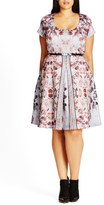 City Chic 'Reflections' Belted Print Scoop Neck Fit & Flare Dress (Plus Size)