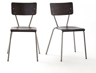La Redoute La HIBA Vintage-Style Wood & Metal Dining Chairs (Set of 2)