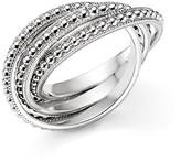 Judith Ripka Sterling Silver Beaded Rolling Rings