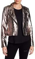 BLANKNYC Denim Metallic Faux Leather Moto Jacket