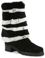 Stuart Weitzman Blizzard Stripe Rabbit Fur & Suede Boots