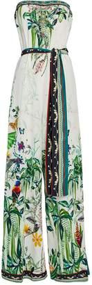 Camilla Printed Silk Strapless Jumpsuit