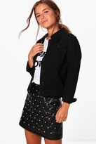 boohoo Petite Holly Western Denim Jacket black