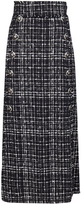 Dolce & Gabbana Button Detail Tweed Maxi Skirt
